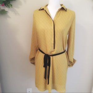 LOFT Yellow Floral Print Dress Black Trim Small